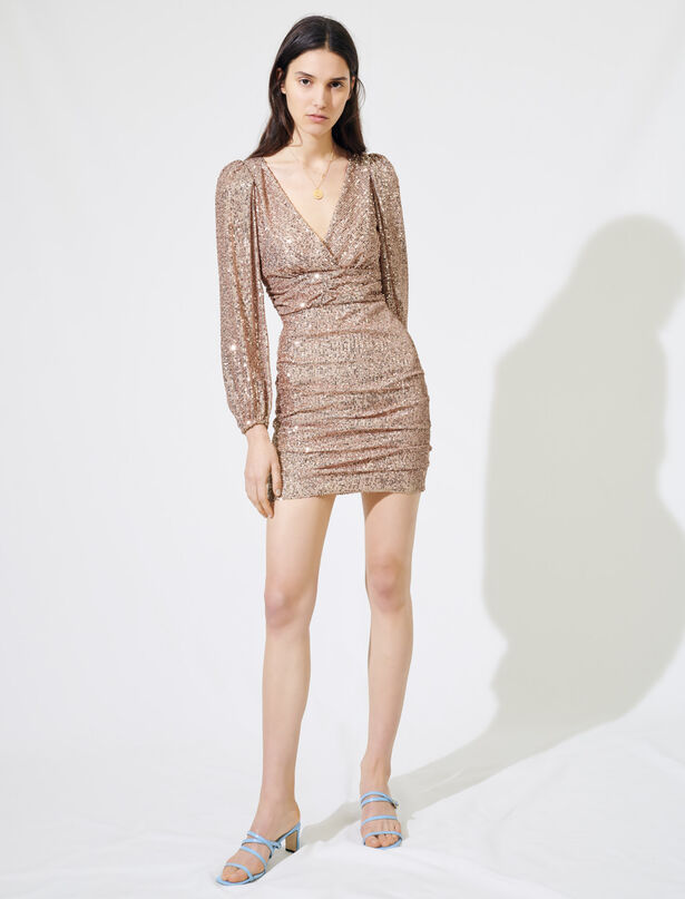 마쥬 원피스 MAJE Robe mini A paillettes,Rose Metallise
