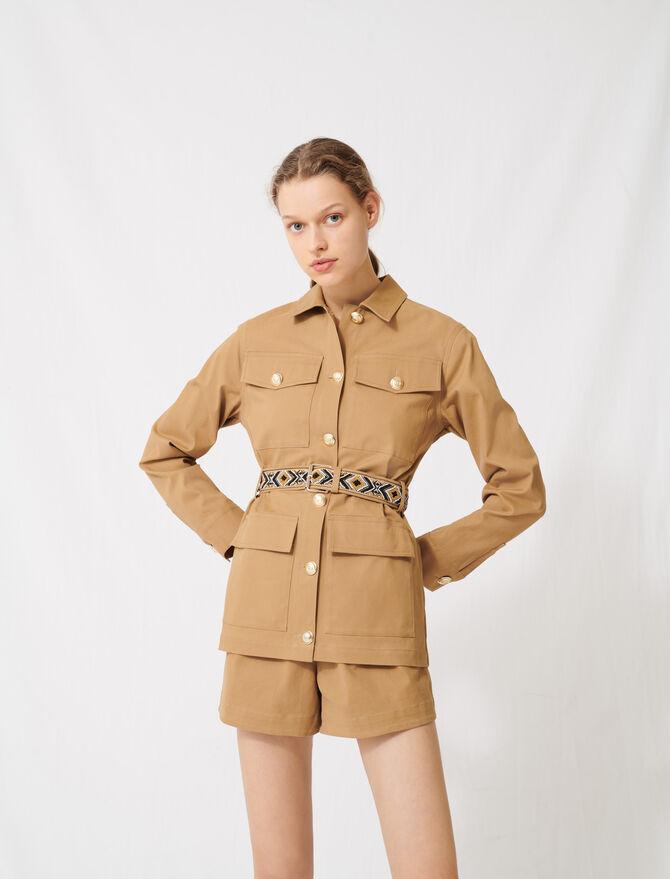 Manteau camel à ceinture brodée - Vestes - MAJE