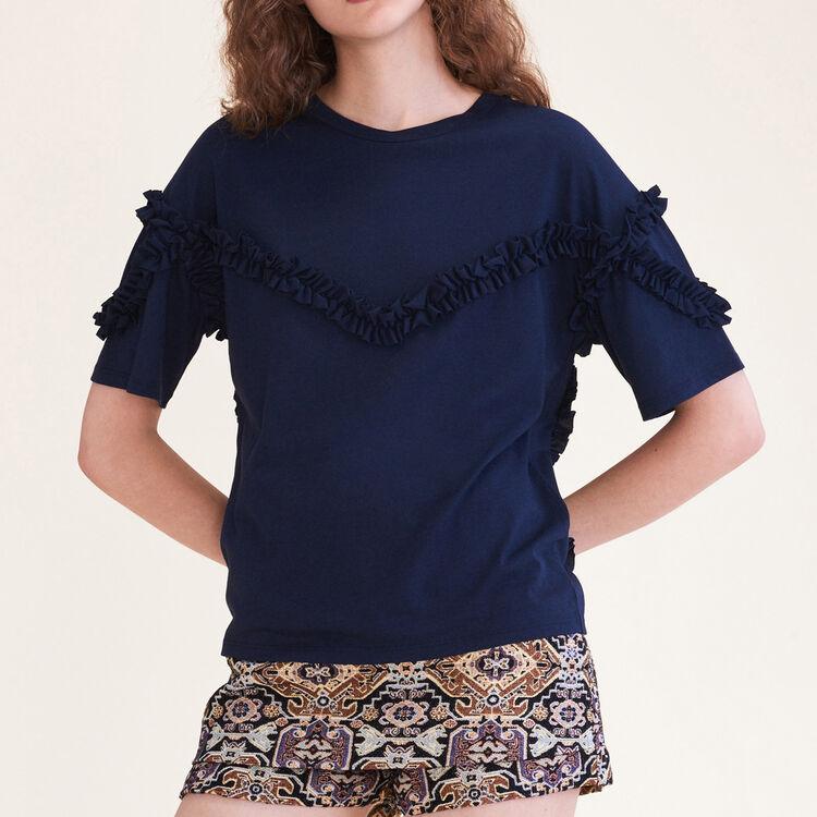 Tee-shirt avec détail volanté - T-Shirts - MAJE