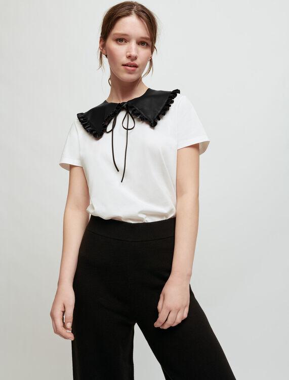 Tee-shirt blanc à col en cuir amovible - T-Shirts - MAJE