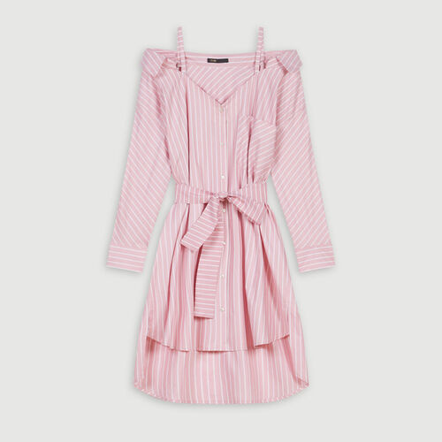 Robe-chemise oversize rayée : Robes couleur Rose