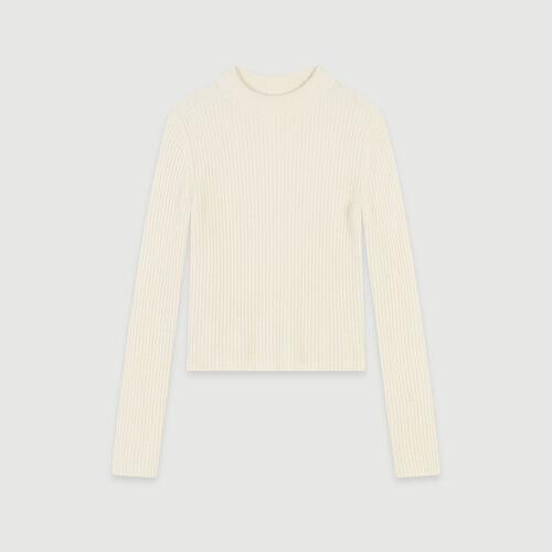 Pull à côtes col montant : Pulls & Cardigans couleur ECRU