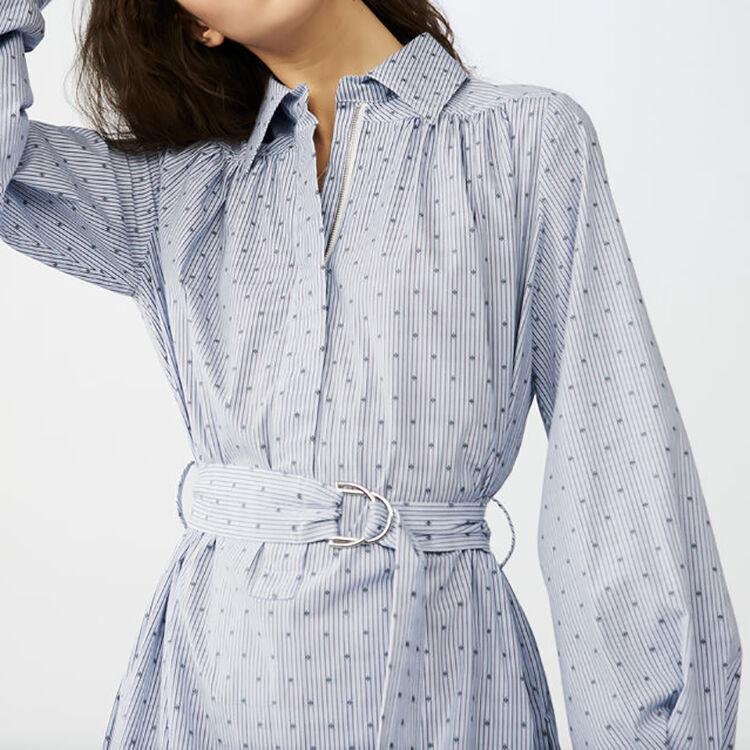 Robe-chemise avec ceinture-boucle : Robes couleur Bleu