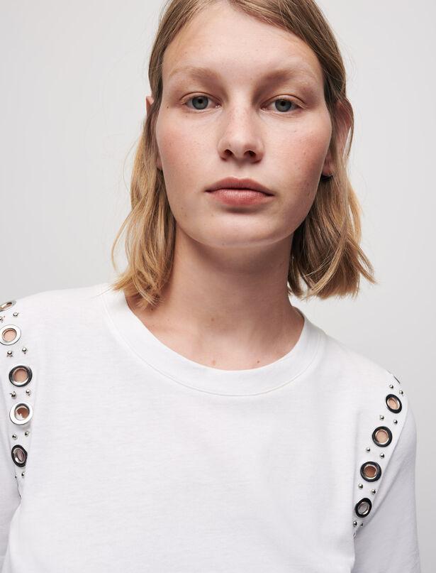 마쥬 MAJE T-shirt blanc A oeillets rocks,Blanc