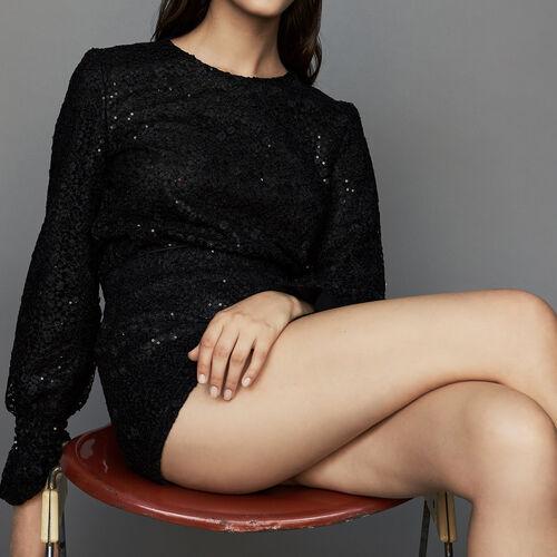 Combi-short en dentelle : Jupes & Shorts couleur Black