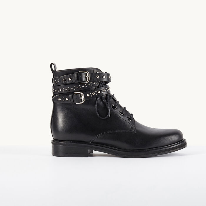 flint bottines en cuir avec lani res clout es chaussures maje paris. Black Bedroom Furniture Sets. Home Design Ideas