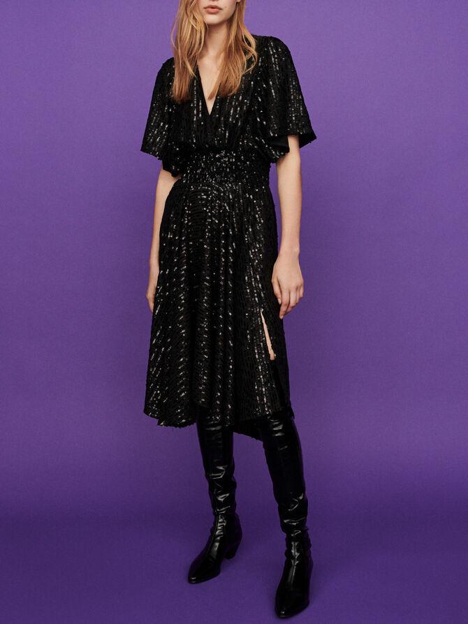 Robe longue noire à sequins - Robes - MAJE