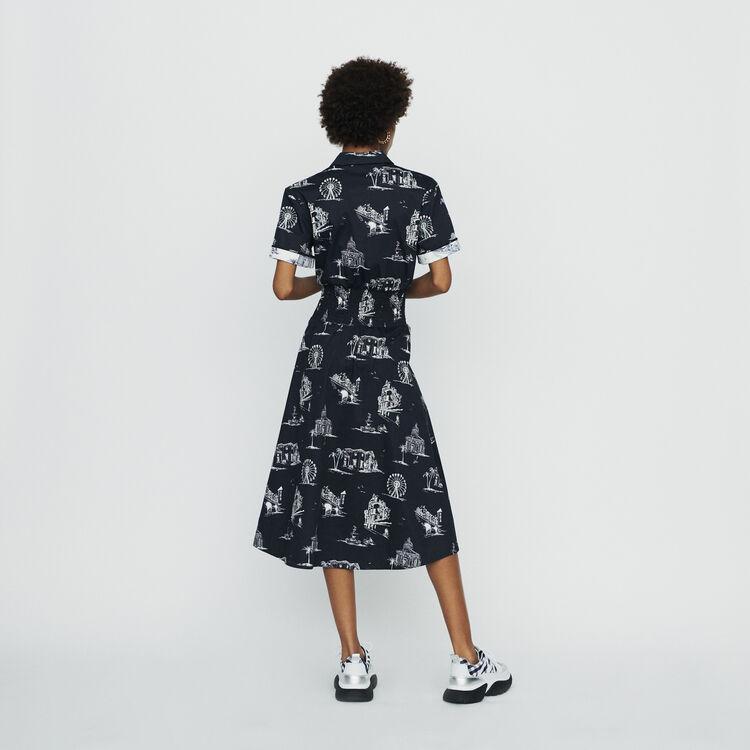 Robe longueur midi imprimé Paris : Robes couleur Black
