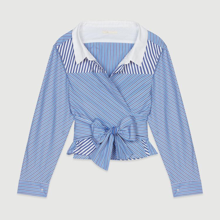 Top courte façon chemise noué : Tops & Chemises couleur Rayure