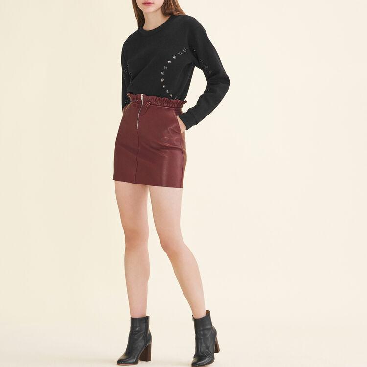 Jupe en cuir zippée : Jupes & Shorts couleur BORDEAUX