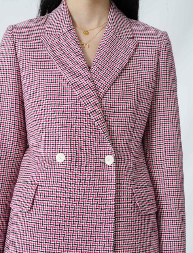 Veste droite croisée à carreaux : Vestes couleur FUCHSIA