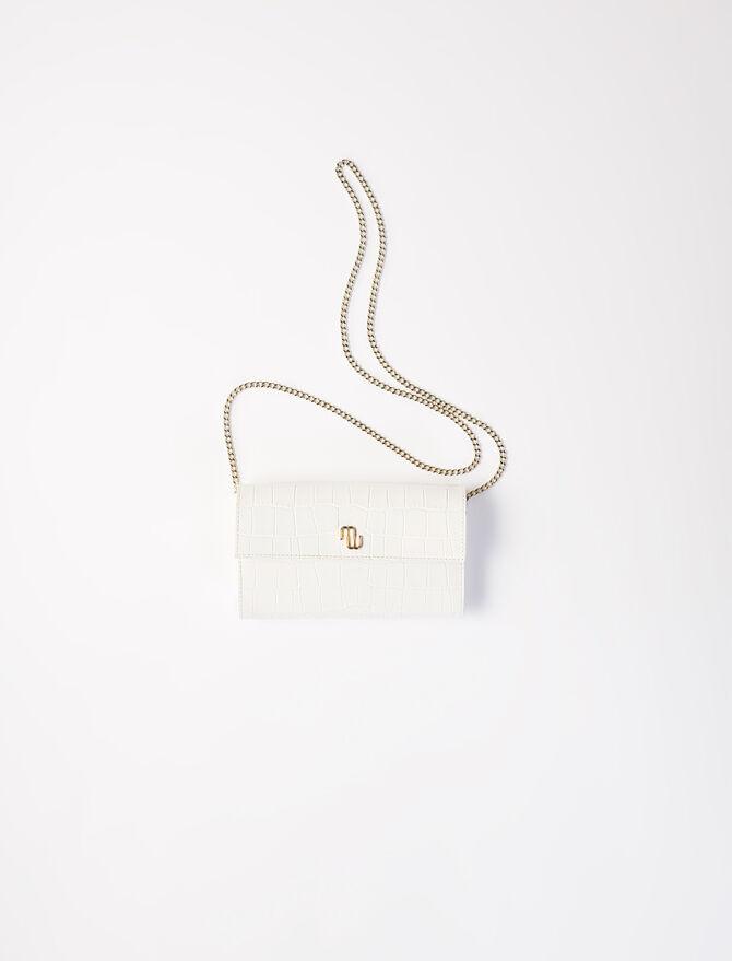 Portefeuille cuir embossé avec chaîne -  - MAJE