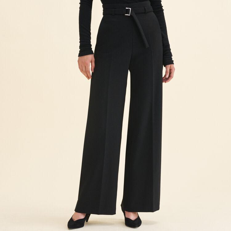 Pantalon large à taille haute : Pantalons & Jeans couleur Black
