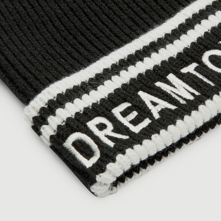Bonnet en laine avec inscription : Châles & Ponchos couleur BLACK