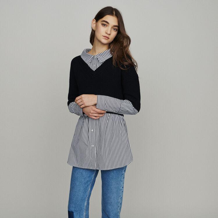 Pull court avec chemise trompe l'oeil : New in : Collection Été couleur Black