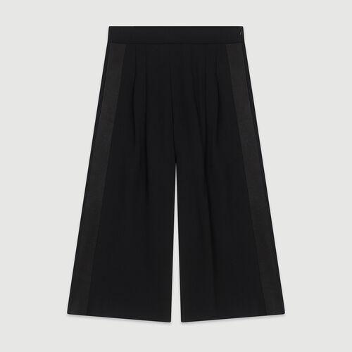 Pantalon large en crêpe : Pantalons & Jeans couleur Black