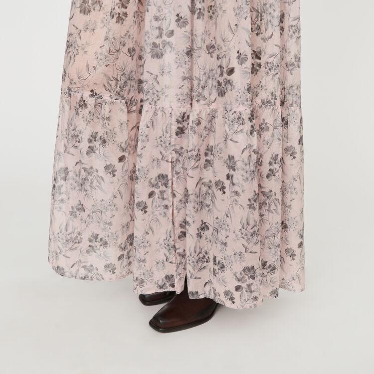 Jupe longue à fleurs en voile de coton : Jupes & Shorts couleur LILA