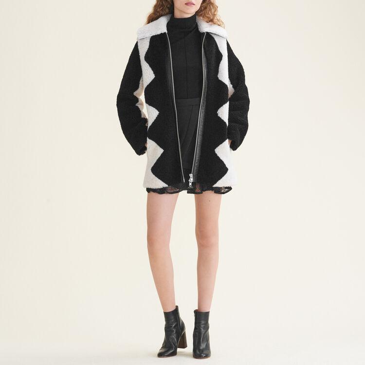 Manteau en peau lainée bicolore - Manteaux - MAJE