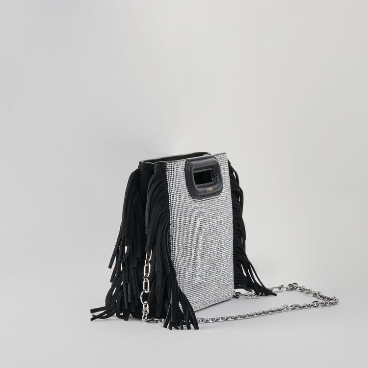 Sac M Mini en suède et strass : M Mini couleur Noir