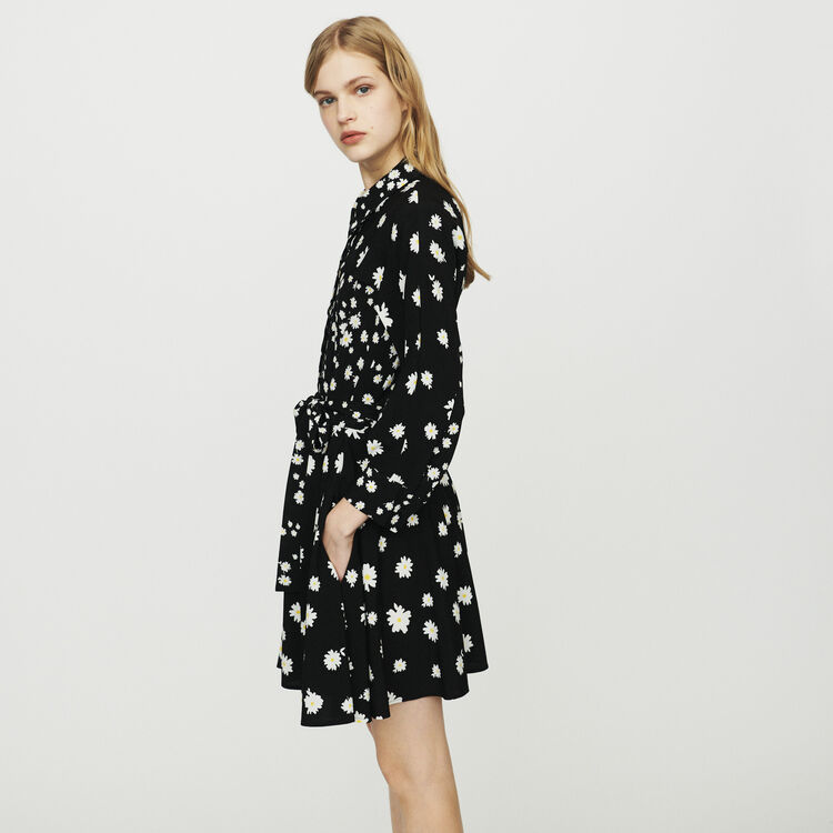Robe avec mix d'imprimés marguerite : Robes couleur Imprime