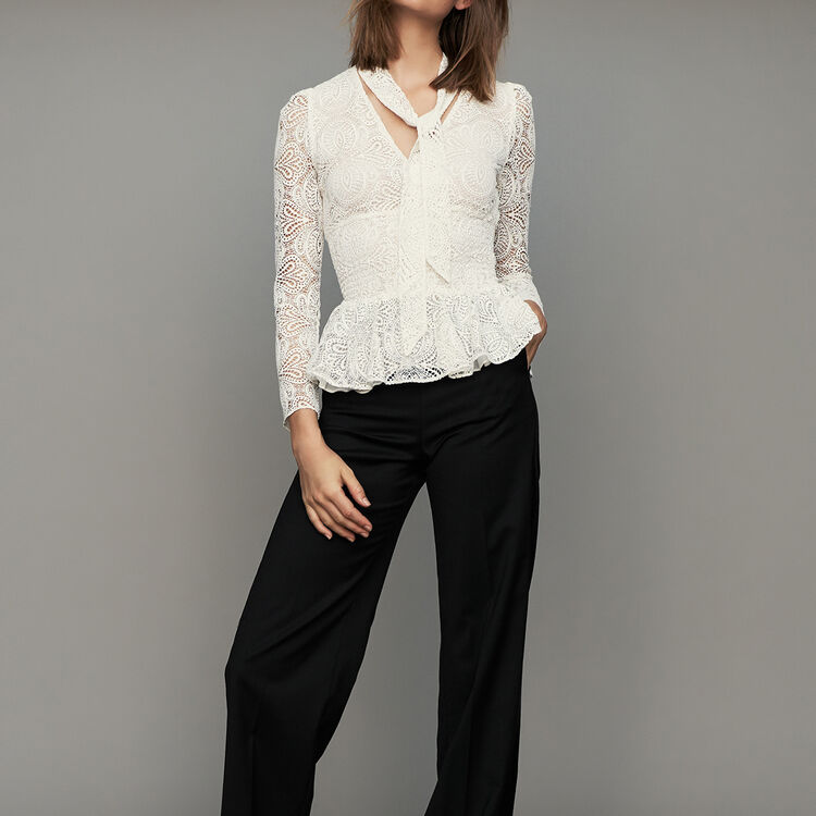 Pantalon large à pinces : Pantalons couleur Black