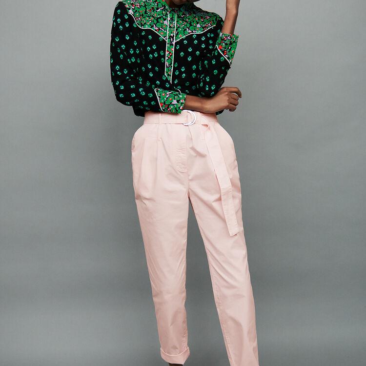 Pantalon taille haute ceinturé : Pantalons couleur Rose Pale