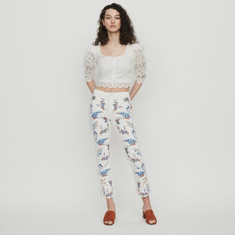 Jean droit avec broderies : Pantalons & Jeans couleur MULTICO