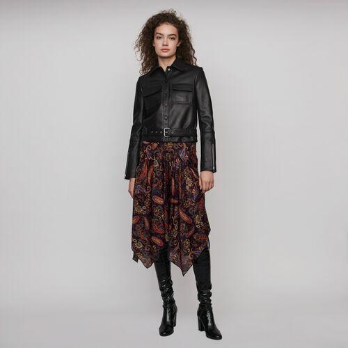 Blouson en cuir boutonné : Manteaux & Blousons couleur Noir