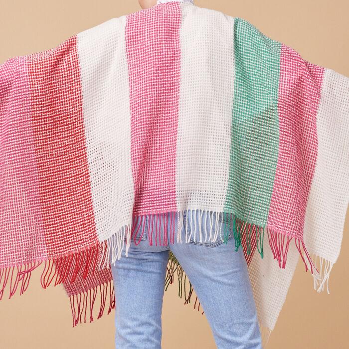 Poncho à rayures en laine mélangée -  - MAJE