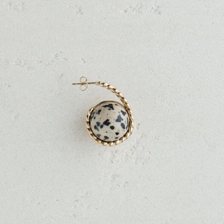 Boucle d'oreille droite en pierre : Nouvelle Collection couleur Blanc Casse
