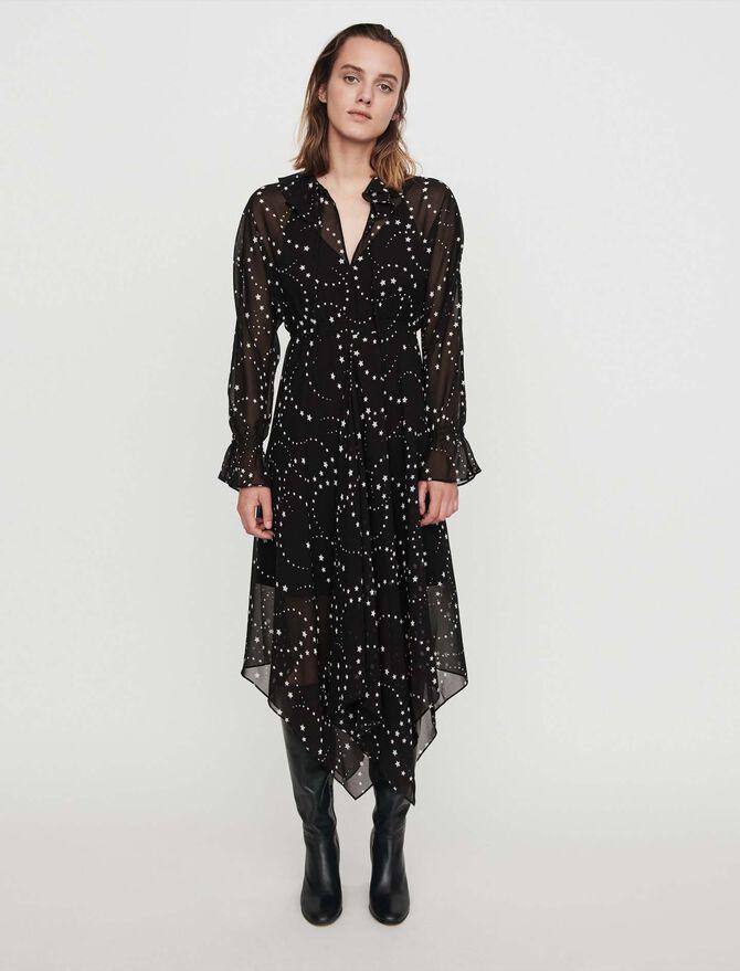 Robe-foulard en mousseline imprimée - Midseason-Sales_UK_30% - MAJE