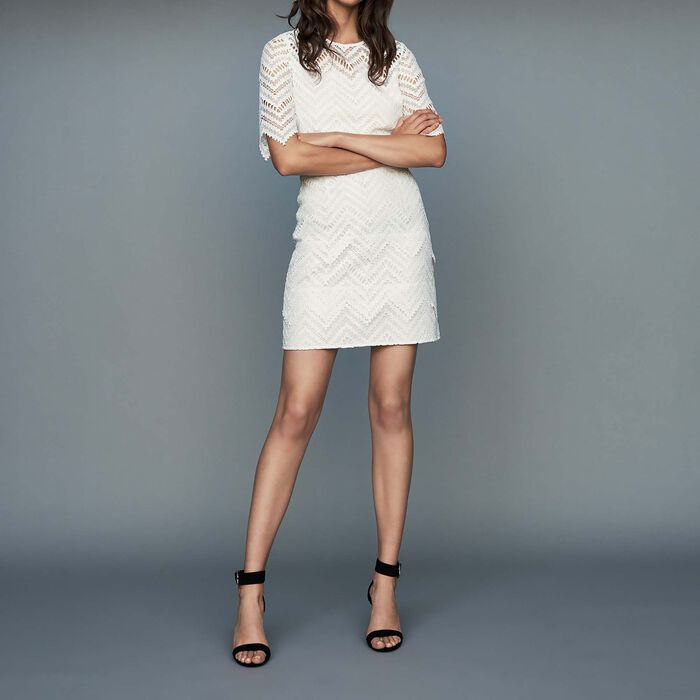 Robe droite en dentelle : Robes couleur Blanc