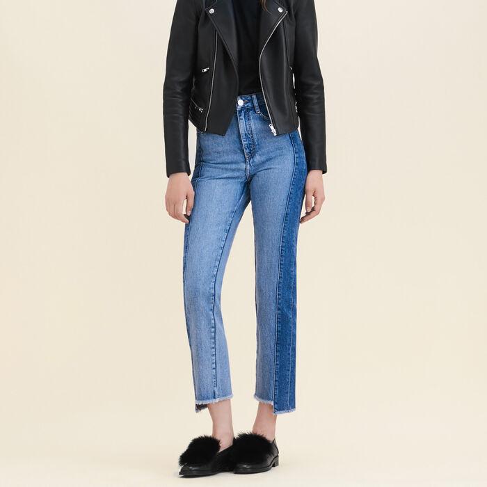 Jean droit en denim délavé : Jeans couleur Bleu