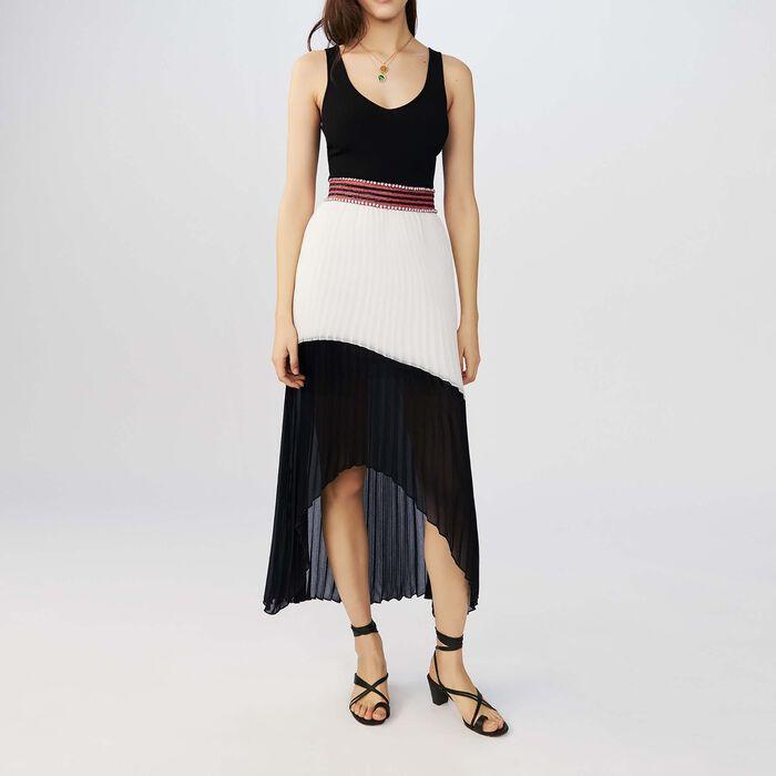 Robe longue plissée bicolore : Robes couleur Bicolore