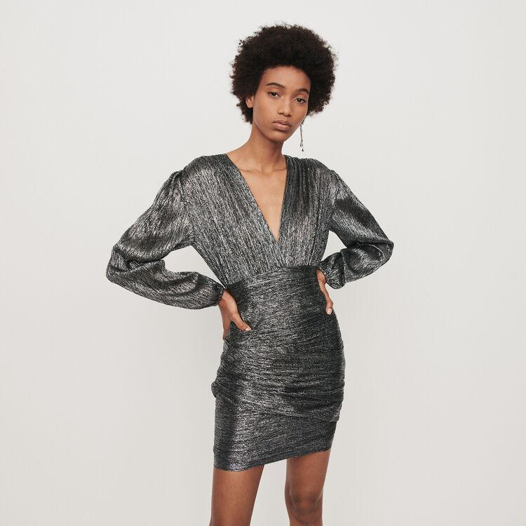 Robe drapée en Lurex : Robes couleur Argent