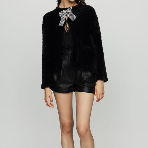 Cardigan texture avec noeud bijoux : Maille couleur Black