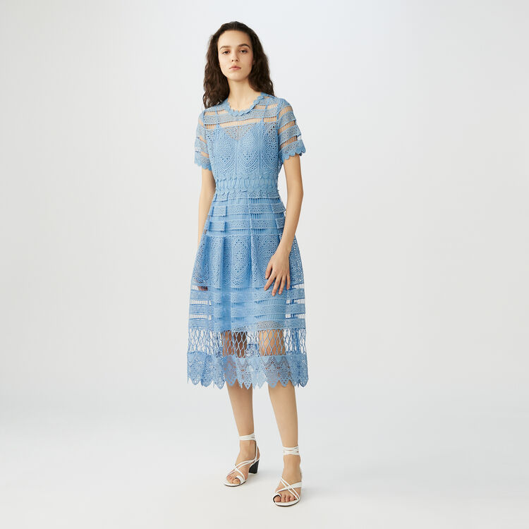 Robe longue en dentelle : Robes couleur ECRU