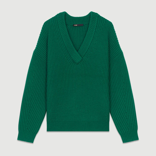 Pull manches longues col V : Maille couleur VERT