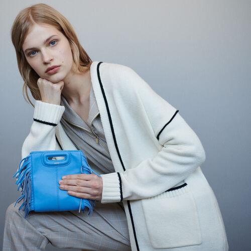 Cardigan mi-long avec bords contrastés : Pulls & Cardigans couleur ECRU
