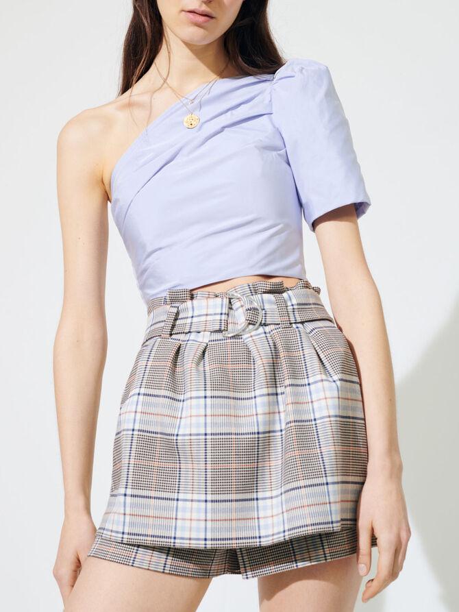 Jupe-short trompe-l'œil à carreaux - Jupes & Shorts - MAJE