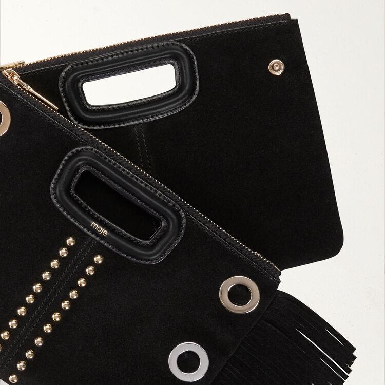 Pochette M Duo en suède avec œillets : M Duo couleur BLACK