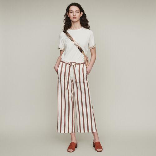 Pantalon large rayé ceinturé : Pantalons & Jeans couleur Rayure