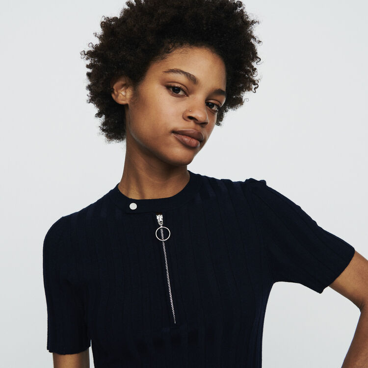 Pull à manches courtes en maille : Pulls & Cardigans couleur Marine