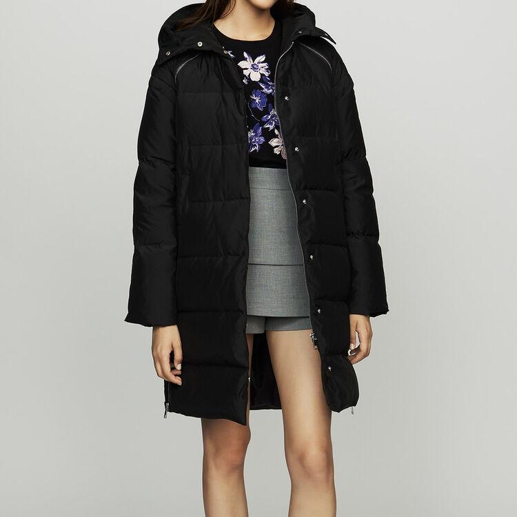 Doudoune longue à capuche : Manteaux couleur Black