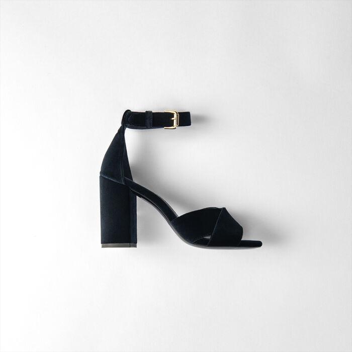 Sandales à talon en velours : Escarpins couleur Marine