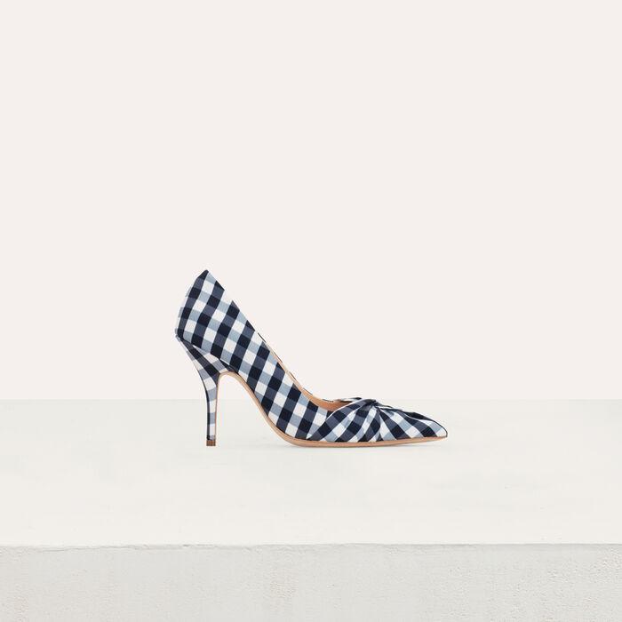 Escarpins drapés en vichy bleu : Escarpins couleur Bleu