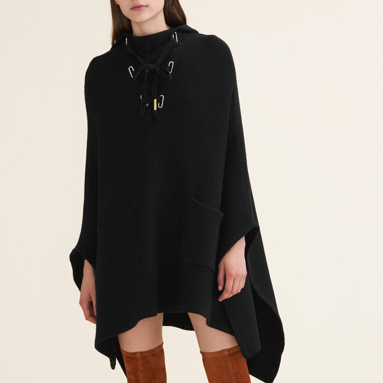 Poncho cape en maille tube : Maille couleur Black