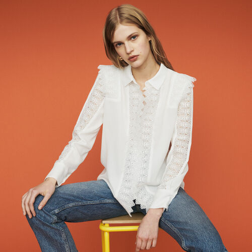 Chemise avec dentelle : Chemises couleur Blanc