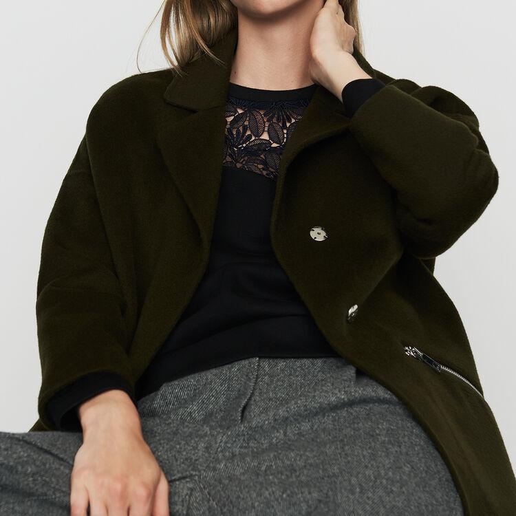 Manteau en laine double face : Manteaux couleur Kaki