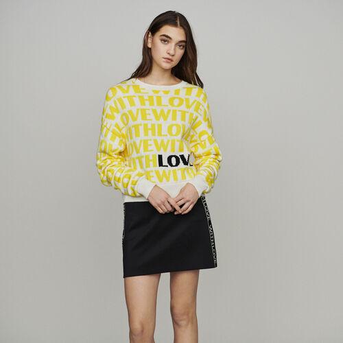 Pull en jacquard à messages : Pulls & Cardigans couleur Jaune